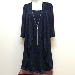 R&M Richards Shift Dress w/ Jacket & Necklace